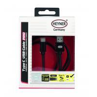 Kabel nabíjecí HEYNER Typ C 3.0 USB černý 1m 511310