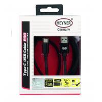Kabel nabíjecí HEYNER Typ C 3.0 USB černý 2m 511360
