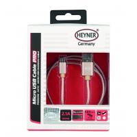 Kabel nabíjecí HEYNER Micro USB zlatý 1m 511550