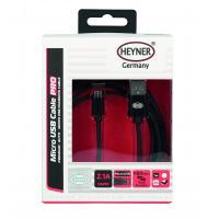 Kabel nabíjecí HEYNER Micro USB černý 2m 511560